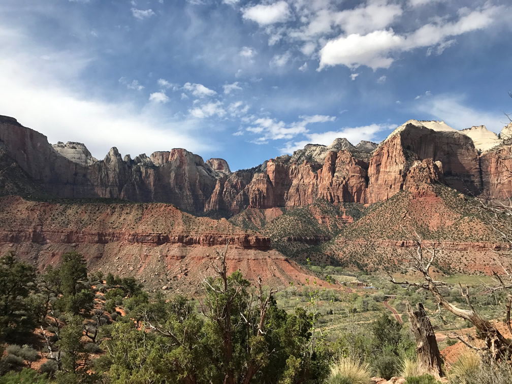 The Zion National Park valley from Watchman trail